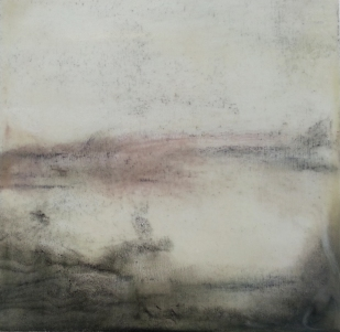 Beyond the Darkness 19.5 x 20cm Encaustic Mixed Media