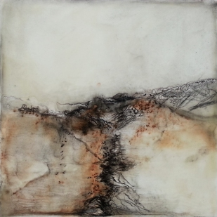 Earth's Embrace 19.5 x 20cm Encaustic Mixed Media