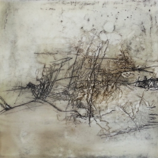 Through My Tears 19.5 x 20cm Encaustic Mixed Media
